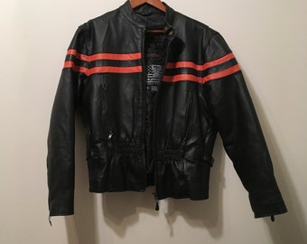 USA Bikers Dream Apparel Leather Motorcycle Jacket