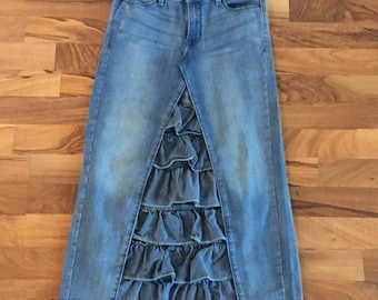 Ruffled Denim Skirt, Custom Made, Modest Jean Skirt