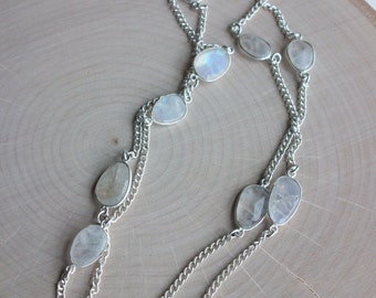Rainbow Moonstone Station Chain Necklace Unique  Rainbow Moonstone Chain Rainbow Moonstone Necklace Long Moonstone Chain Matching Set SC003