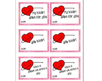 Valentine Day printable valentines - heart dab