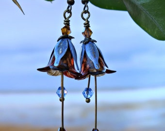 Gypsy Earrings - Blue Earrings - Orange Earrings - Flower Earrings - Dangle Drop Earrings - Long Earrings - Summer Earrings - Colourful Gift