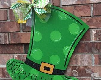 St Patricks Day Door Hanger, St Pattys Day Door Hanger, Leprechaun Hat Door Hanger, Leprechaun Door Hanger, Spring Door Hanger, Spring decor