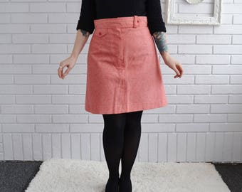 Vintage 1970s Red Denim-Style Skirt with Faux Pocket by Bobbie Brooks Size Medium