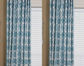Teal Curtains, Turquoise, Custom Designer Curtains, Long Blackout Curtains,  Window Treatments Living