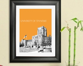 University of Tennessee Skyline Poster - Knoxville Tennessee City Skyline - Art Print - 8 x 10 Choose Your Color
