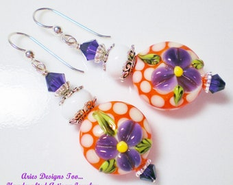 Orange and White Polka Dot Earrings with Purple Violets, Funky Floral Lampwork Earrings in White, Orange and Purple