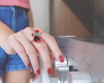 Poppy Ring , Flower Ring , Handpainted GOODAFTERNINE