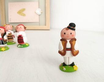 Custom Kokeshi peg doll | custom polymer clay figurine | cute wedding peg | Kawaii figurine | wedding baptism favors | country boy figurine