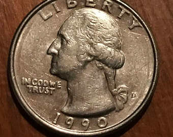 1990 D Washington Quarter fantastic BU condition. Look at the details, hair, facial features, lettering. Nearly 30 years Preserved well