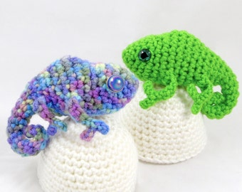Crochet Pattern: Amigurumi Egg Babies, Baby Chameleon and Egg