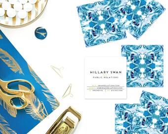 Blue + Burgundy Art Marble Tiled Calling Cards   Business Cards   Blogger Cards   Set (50)
