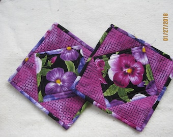 Pot Holders - Quilted - Hot Pads - Pansies on Black