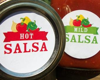 Mild, Medium, Hot, Salsa canning labels, round mason jar labels for tomato vegetable preservation, regular & wide mouth salsa jar labels