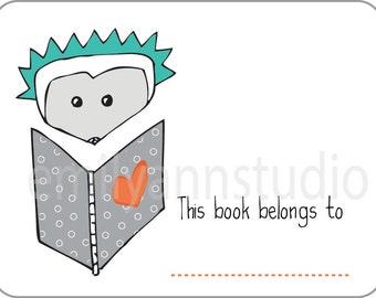 Hedgehog Bookplates - This Book Belongs To Labels Set of 15