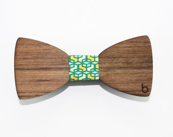 Wooden bow tie with colored fabric windows