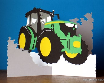 Tractor Gifts, Birthday Card, Fathers Day Card, Easter Card, Farming, Tractor, Pop Up Card, Christmas Cards, Yellow & Green Tractor