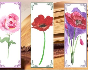 Watercolor Bookmarks, Instant Download Digital, Painting bookmark, Bookmarks watercolor, rose, poppies