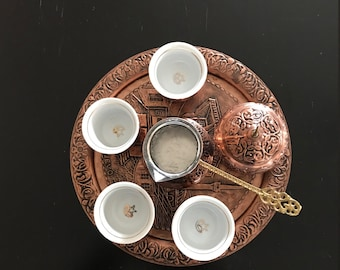 traditional turkish coffee cezve, fincan and turkish delight pot