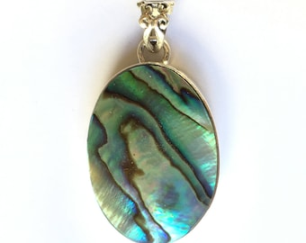 Paua Abalone Shell Highly Polished Oval Silver Pendant