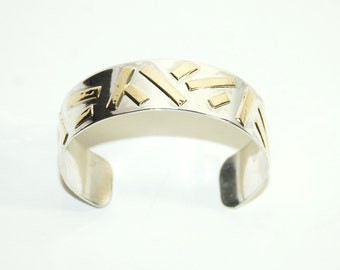 Mixed Metal Cuff - Sterling Silver and Brass Cuff Bracelet - Unique Jewelry