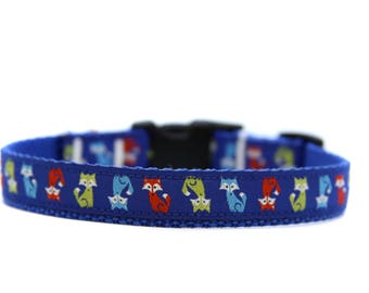 5/8 or 3/4 Inch Wide Dog Collar with Adjustable Buckle or Martingale in Foxes
