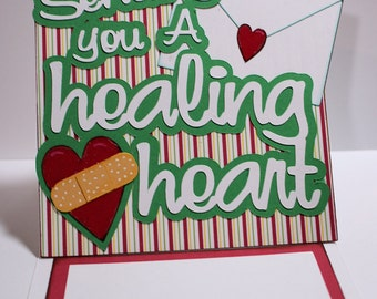 Get Well Sending A Healing Heart Layered CarEasel Card-Get Well Card-Funny Card-Greeting Card-Handmade Card-Dimensional Card