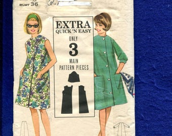 1960's Butterick 3227  Front Button House Coat with Three Quarter Sleeves and Large Patch Pockets Size 16