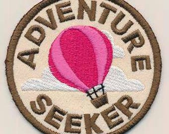 Patch, Adventure seeker, Iron on patch,Machine embroidered iron on patch