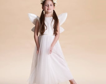 white Ferry costume, Girls costume, Halloween costume, children girl, white dress