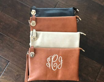 Monogrammed embroidered crossbody purse wallet wristlet