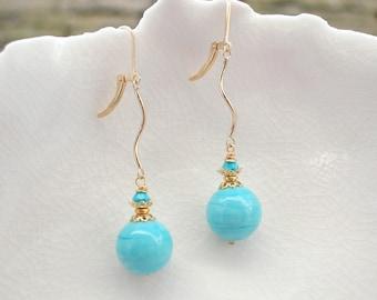 Turquoise Murano Glass Long Earrings