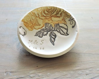 Wedding Ring Holder - Engagement Gift - Flower Ring Bowl - Personalized Beauty and the Beast Wedding Ring Dish - Unique Disney Wedding Gift