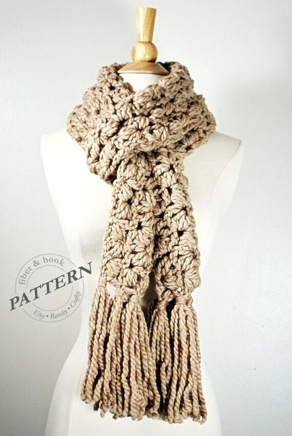 Crochet Pattern Chunky Puff Scarf Pattern Tassel Scarf Pattern