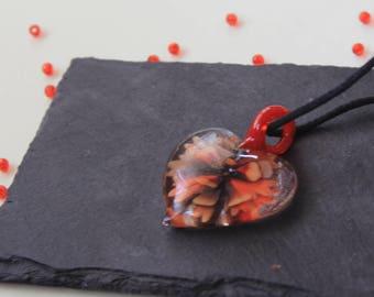 Orange heart pendant