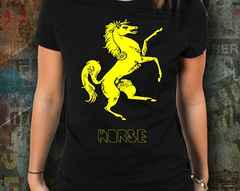 Yellow Horse shirt / womens horse riding tshirt / equestrian clothing / equestrian gifts / horse gifts / dressage / horse clothing
