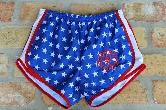 Monogrammed American Flag Running Shorts