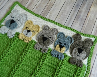 "Sleep Tight Teddy Bear Baby Blanket Hand Crochet 30"" x 34""  Shower Gift / Baby Homecoming /  Newborn"
