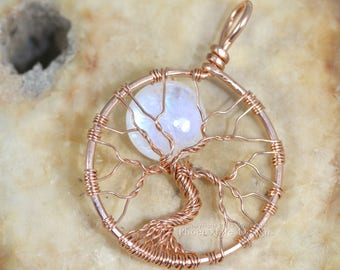14k Rose Gold Rainbow Moonstone Necklace Tree of Life Pendant Luxury Rose Gold Necklace Celestial Full Moon Wire Wrapped Jewelry Pink Gold