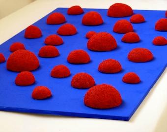 Unique MONOCHROME contemporary Art piece: RED on ultramarine BLUE. Nature art