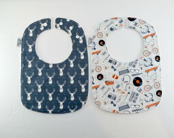 Baby Bib, boy, bib, grey, orange, antlers, ties, dogs, records, bikes, headphones, sneakers, guitar, skateboard, fit 3mth-2ys organic cotton
