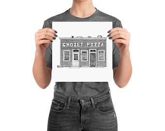KillerBeeMoto: Charlottesville Area Bucket List Crozet Pizza Ink Sketch Drawing On Various Mediums