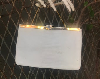 Vintage White Genuine Leather embossed lizard Gold/Brass clutch