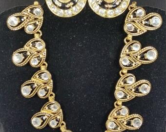 Vintage 1979 GEM-CRAFT Black gold pearl and rhinestone necklace & earring set. Signed CRAFT