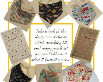 Dribble Bib and Nappy Pouch Set (Matching)
