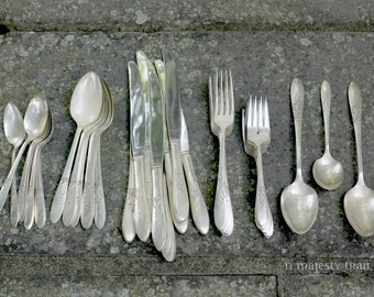 Silverplate Flatware Set by Simeon & George H Rogers Co, Oneida. Vintage. 8 Placesettings, 43 pc. Forks, Spoons, Sugar, Serving. Victorian