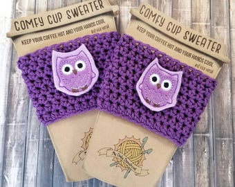 Owl Cup Cozy, Coffee Cozy, Coffee Cup Warmer, Coffee Cup Cozy, Cup Sleeve, Coffee Cup Sweater, Owl Gift, Crochet Cup Cozy, Knit Coffee Cozy