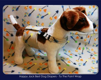 """HAPPY JACK """"To The Point"""" print wrap - Male Dog Diaper with Nonslip Adjustable Chest Strap"""