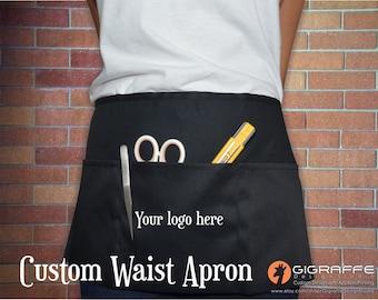 Custom Three‑Pouch‑Pocket 10 Inch Waist Apron / Waist apron / Custom Text apron / Craft fair apron / Uniform / Waist apron / 3 Pocket apron