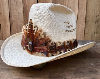 Urban Cowboy feather hat band on leather with Wild Turkey feathers and Pheasant feathers in brown, bronze, and beige