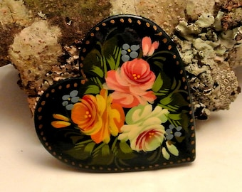 Black Lacquer Signed Heart Brooch Black with Handpainted Flowers Brooch Vintage Brooch Russian Handpainted Brooch